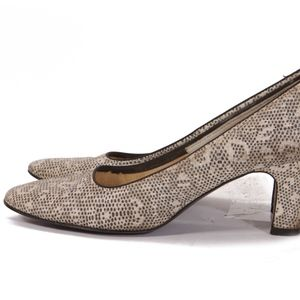 1950s Black White Lace Look High Heel Shoes